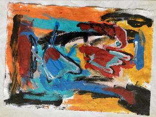 acrylic on handmade paper - 42 x 30