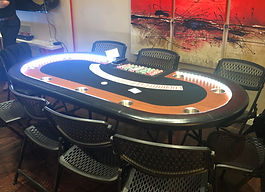 LED Lighted Texas Hold 'em Table with black felt