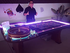 Lighted Roulette Table with Dealer