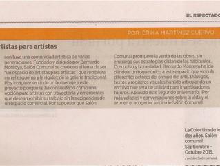 Salón Comunal: un espacio de artistas para artistas. Articulo publicado en el diario EL ESPECTADOR c
