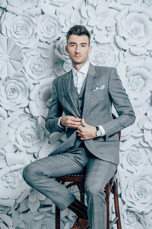 Elegant grey glen-check suit