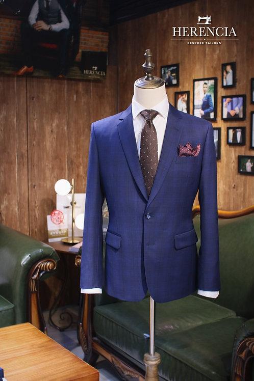 Royal Blue Glen Check Suit