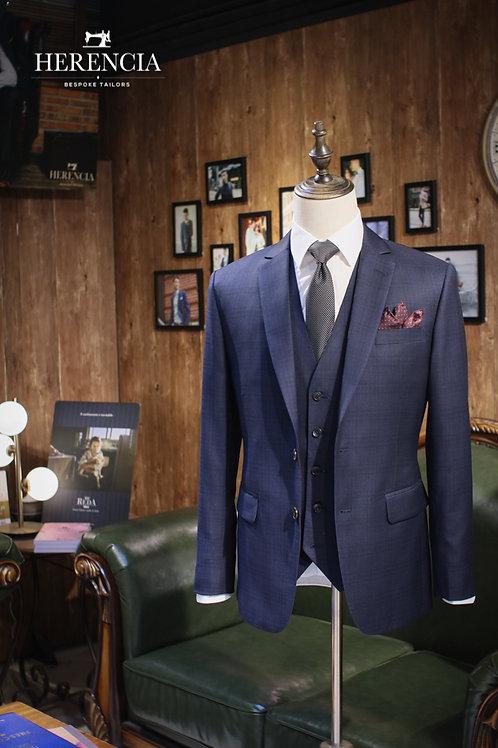 Loro Piana Navy Glen Checked Suit
