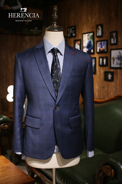 Huddersfield Glen check Blue Suit