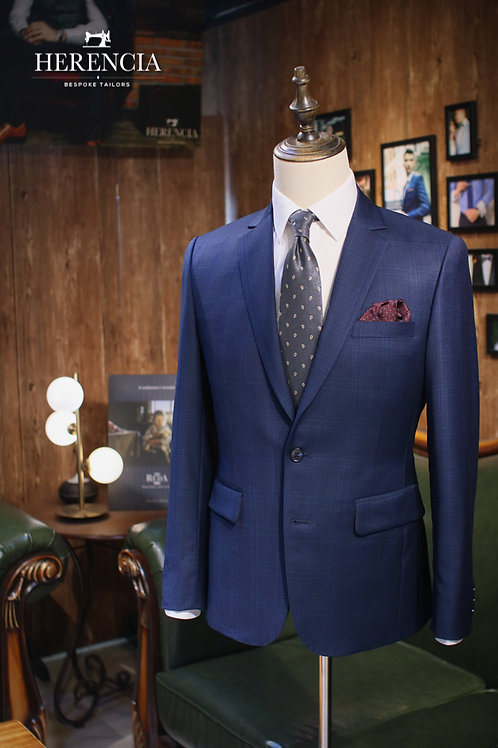 Royal Blue Glen check Suit