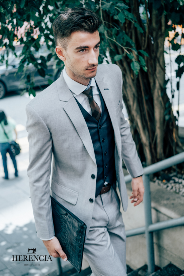 Light Grey Suit with Navy Blue Vest