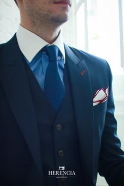 Subtle Checked Blue Suit
