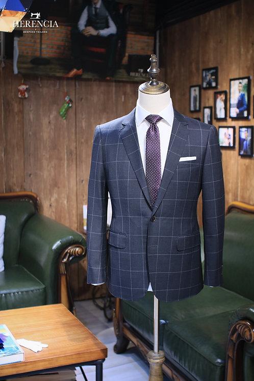 Charcoal windowpane suit
