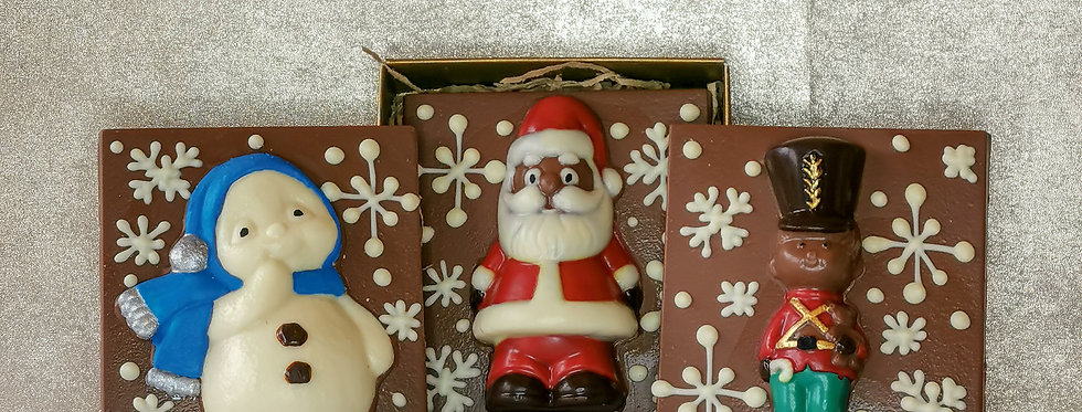 Chocolate Santa, Snowman & Nutcracker Square