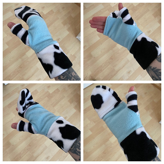 Baby blue and zebra mittens