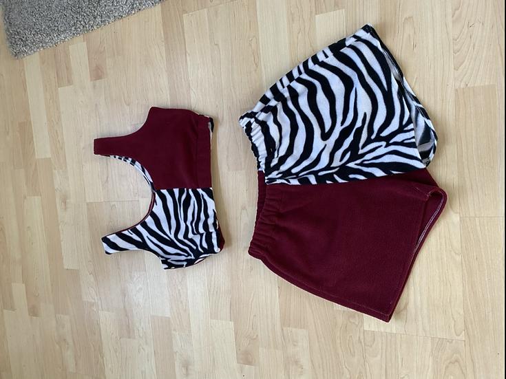 Zebra and maroon purple loungewear set