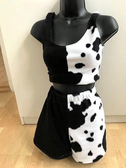 Cow print and black loungewear set