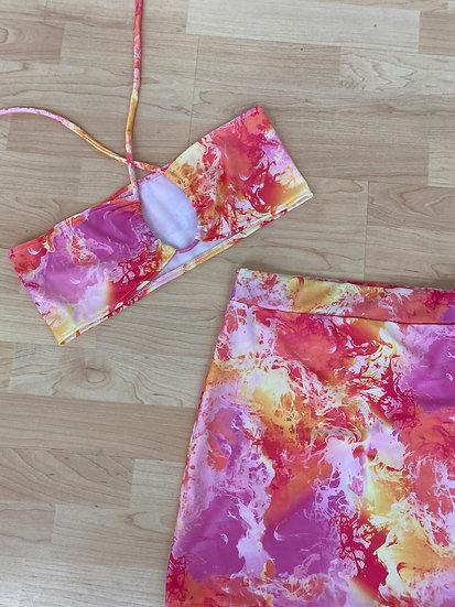 Orange skies skirt set