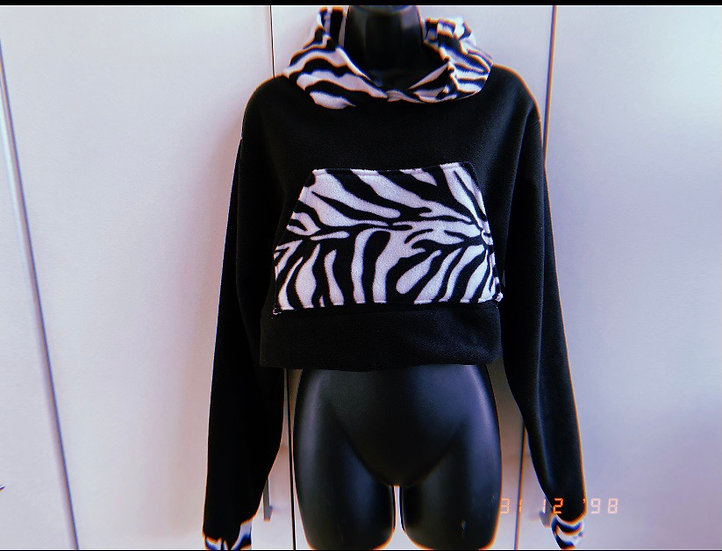 Zebra print cropped hoodie