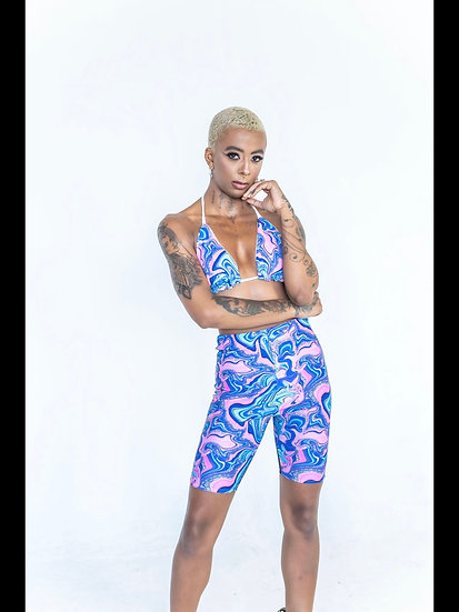 Marble swirl shorts co ord