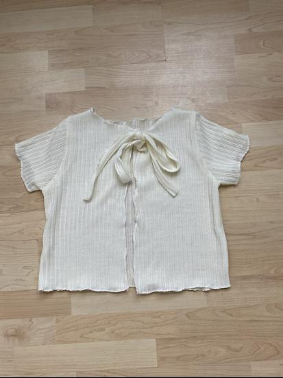 Cream tie up knit top