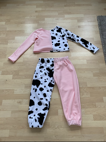 Cow print long sleeve joggers set