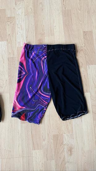 Purple acid swirl cycling shorts