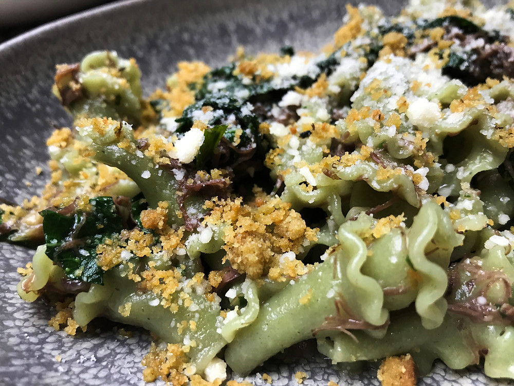 New 2018 Winter Dish added to the Lalla Rookh Menu - Stinging Nettle Campanelle, Chianti Braised Beef Cheeks
