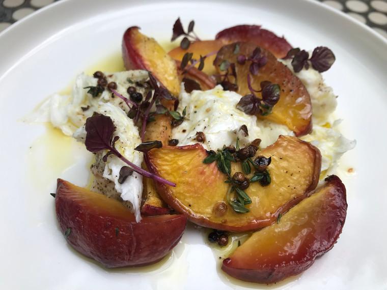 Recipe: Slow roasted peach & buffalo mozzarella