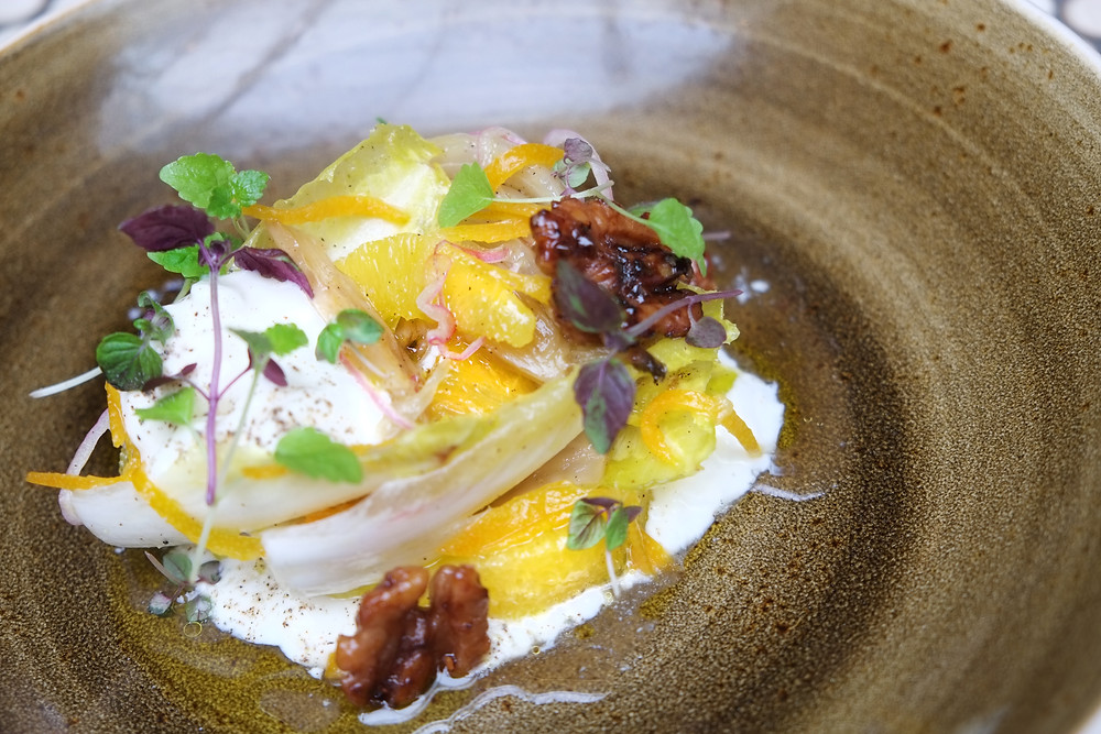 New 2018 Winter Dish added to the Lalla Rookh Menu- Witlof, Pickled Fennel, Stracciatella, Kumquat, Candied Walnuts