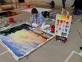 Catherine De Cesare works on a Dye Translucency