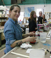 Fallon, Delaney ,Laura, and Rachel at the Mixing Table