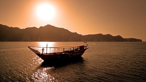 Dhow at Sunset Musandam Oman