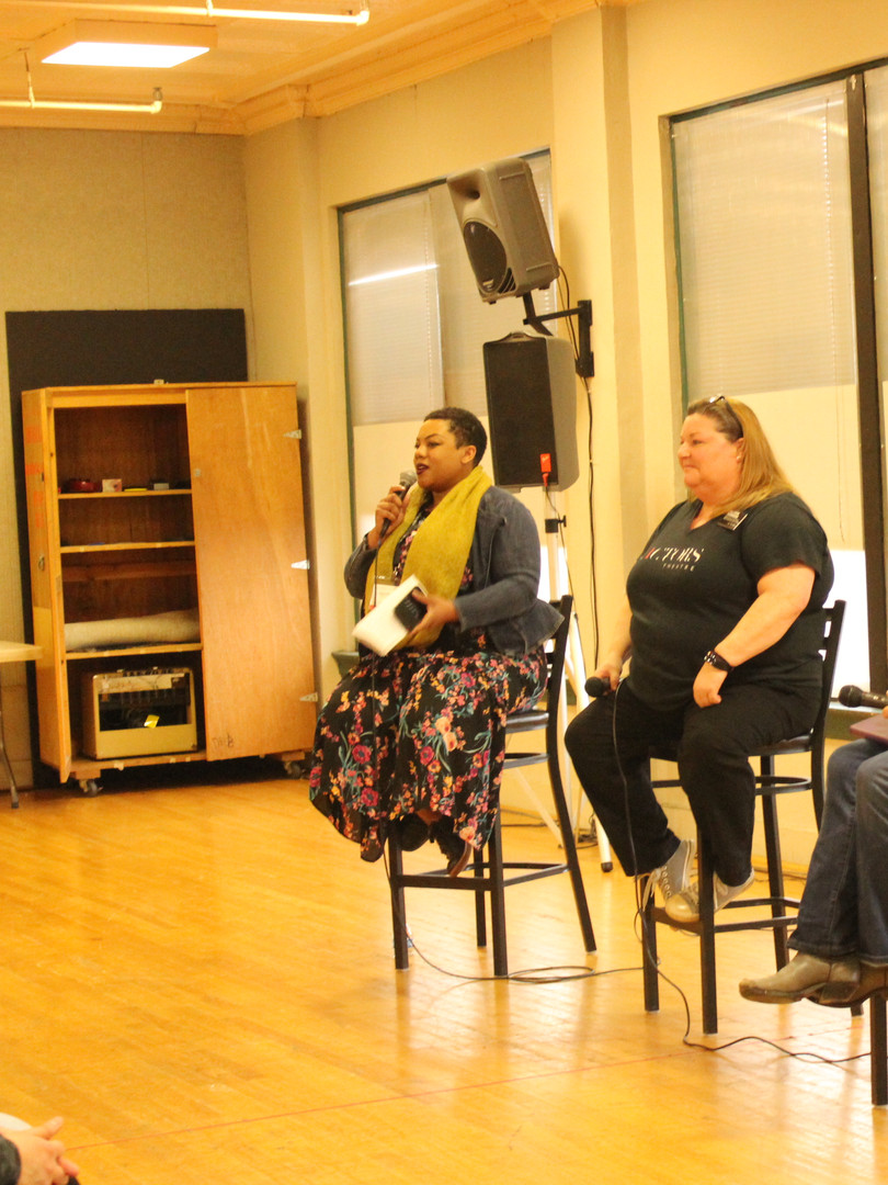 SSHHHH!!! I'M ACTING HERE (Panel) 2018 Humana Festival of New American Plays (College Days) Actors Theatre of Louisville  From left to right: Janelle Renee Dunn (moderator), Allison Hammons, Talleri McRae, Billy Flood