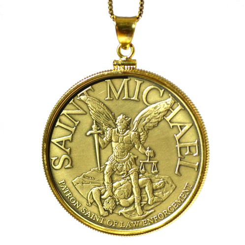 Saint michael pendant necklace texas k creations coin rings this saint michael pendant is perfect for the police officer in your family or for yourself to show pride in them with this medal take safe travels with mozeypictures Gallery
