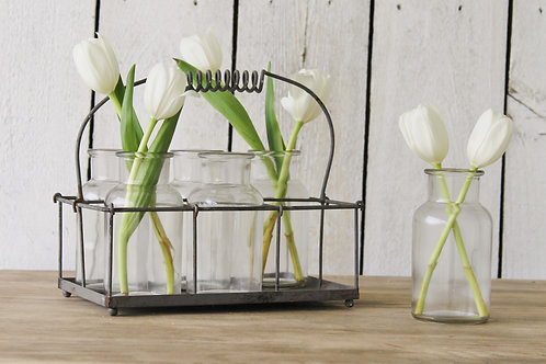Milk Bottle Vases & Holder