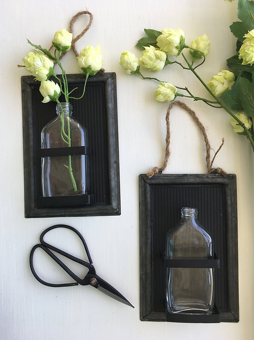Black Tin Bottle Wall Vase
