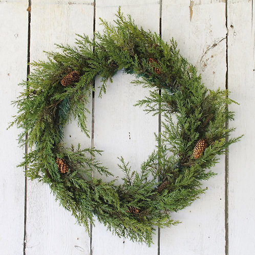 22 in Prickly Pine Wreath With Pinecones