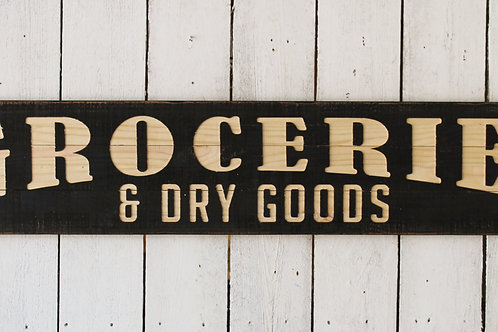Wooden Groceries Sign