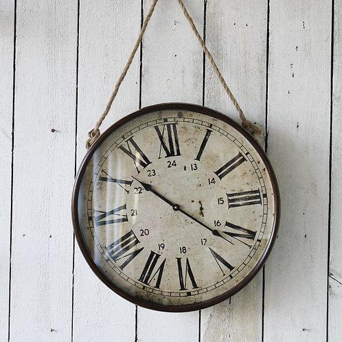 Galvanized Metal Hanging Clock