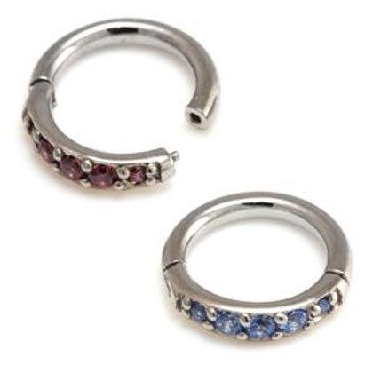 Steel Pavé Gems Hinged Micro Ring  - 1.2mm