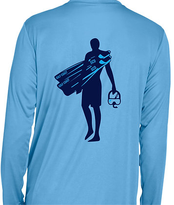 Rash Guard - Men's Light Blue Back View