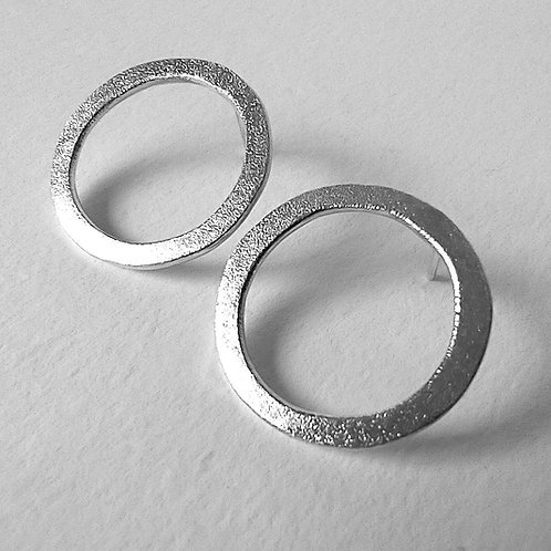 Frosted Circle Ear studs, large