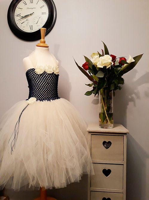 Ivory & Navy Flowergirl Tutu Dress