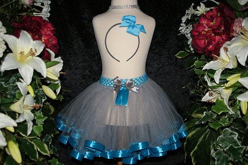 Silver & Teal Ribbon Tutu Skirt