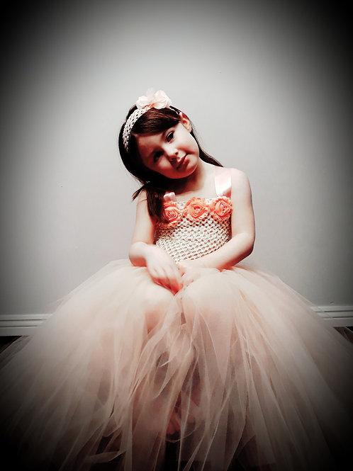 Ivory & Coral Flowergirl Tutu Dress