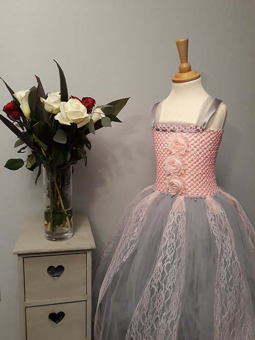 Pink & Grey Lace Flowergirl Tutu Dress