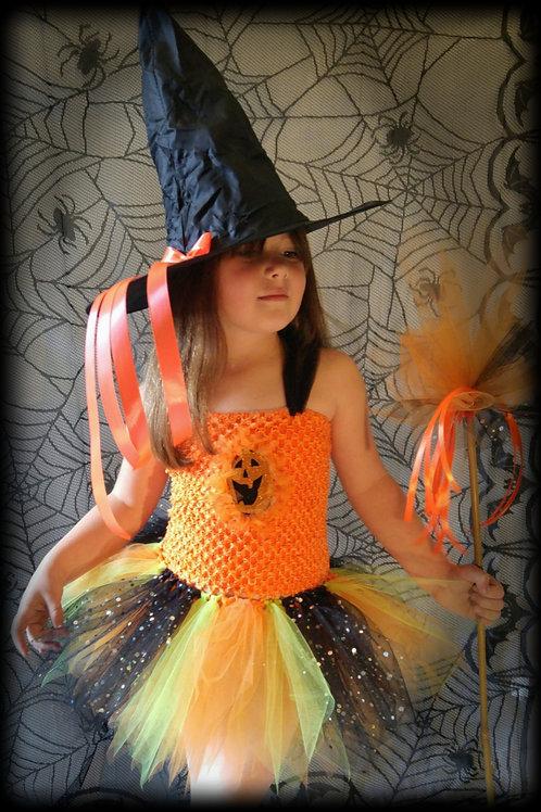 Pumpkin Witch Halloween Tutu Dress