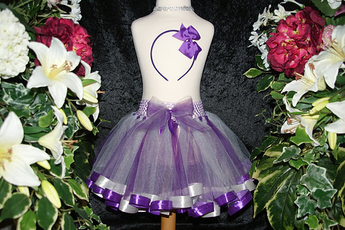 Purple & Silver Ribbon Tutu Skirt