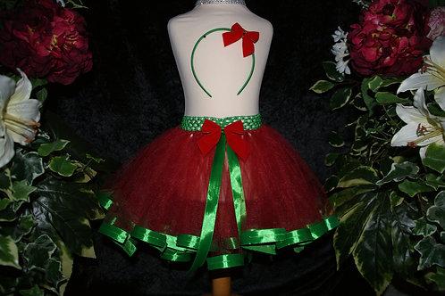 Red & Green Ribbon Tutu Skirt