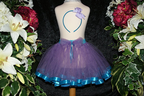 Purple & Teal Ribbon Tutu Skirt