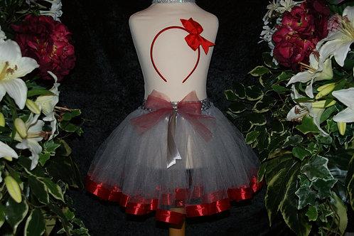 Silver & Red Ribbon Tutu Skirt