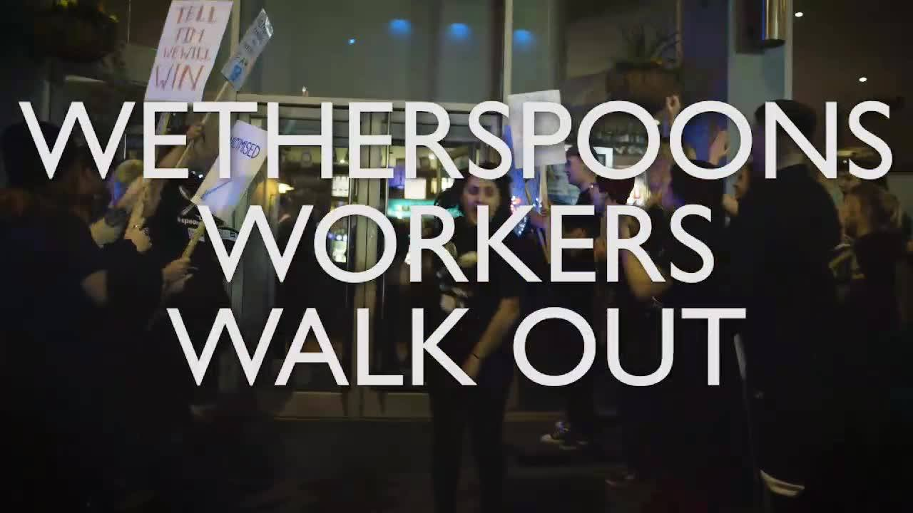 Workers at Wetherspoons have walked off the job on strike. They're demanding £10 an hour, union recognition and respect at work. McDonald's, TGI Friday's, and Uber Eats & Deliveroo food couriers are on strike today too. Share this video to spread the