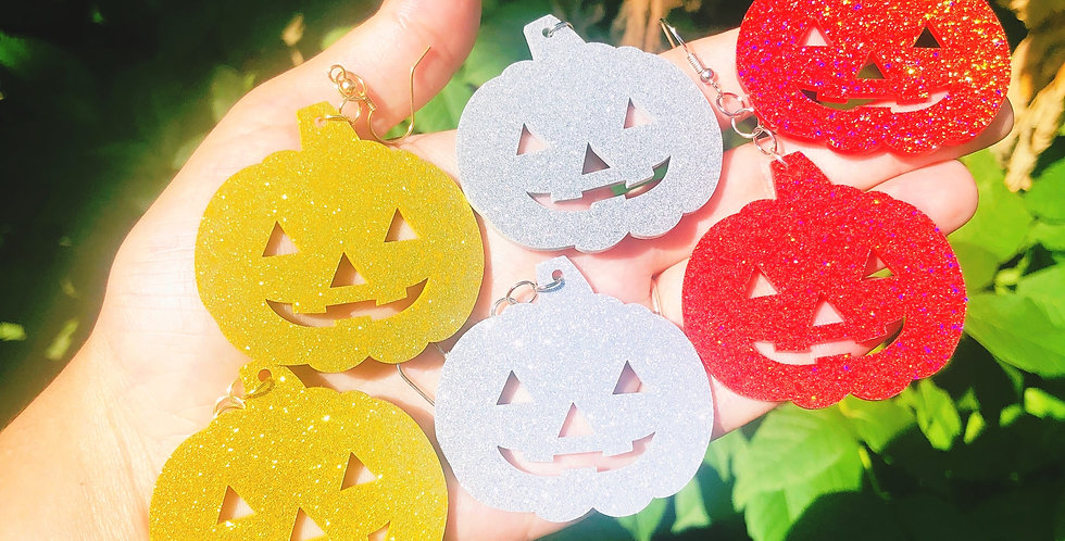 Large Glitter Pumpkin Earrings