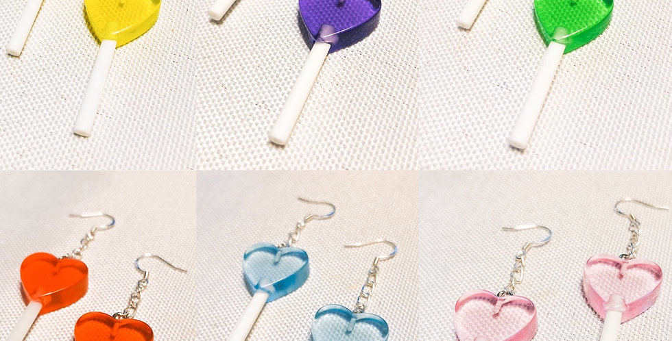 ♡ heart lollipop earrings ♡
